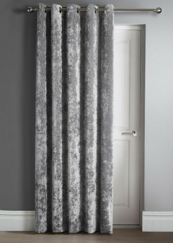 "Contemporary Crushed Velvet Ring Top Eyelet One Door Curtain Panel, 46"" X 84"" Silver"